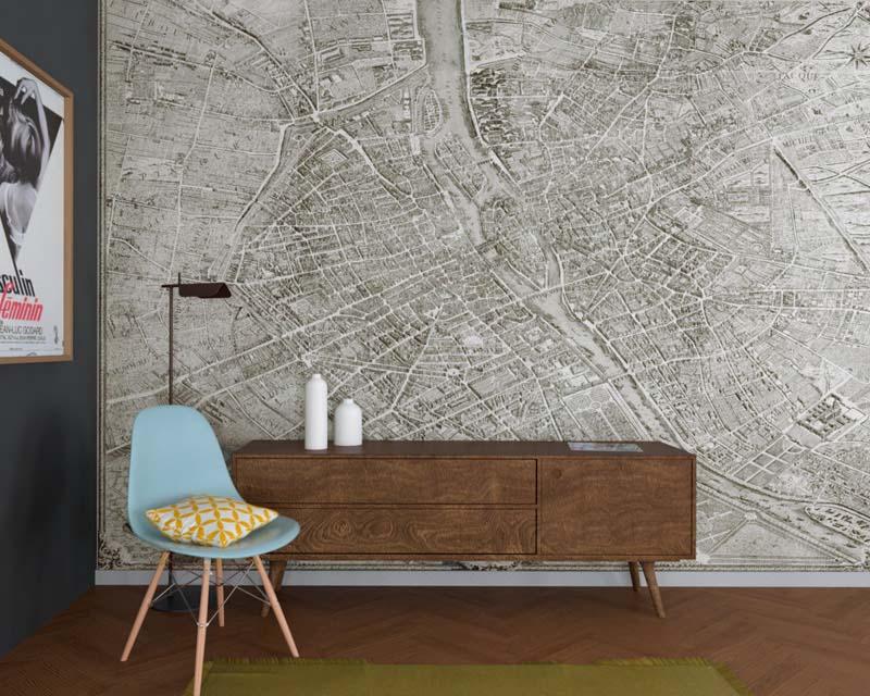 Paris Turgot Map 1739 - Scenic Wallpaper Mural - Papiers De Paris