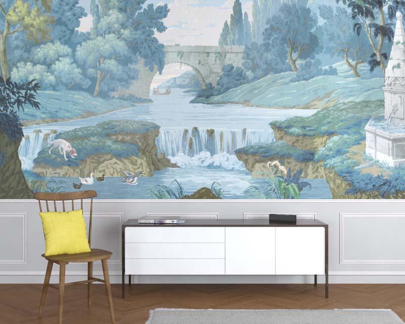 antique block printed scenic wallpaper hunt and french lanscape papiers de paris. Black Bedroom Furniture Sets. Home Design Ideas