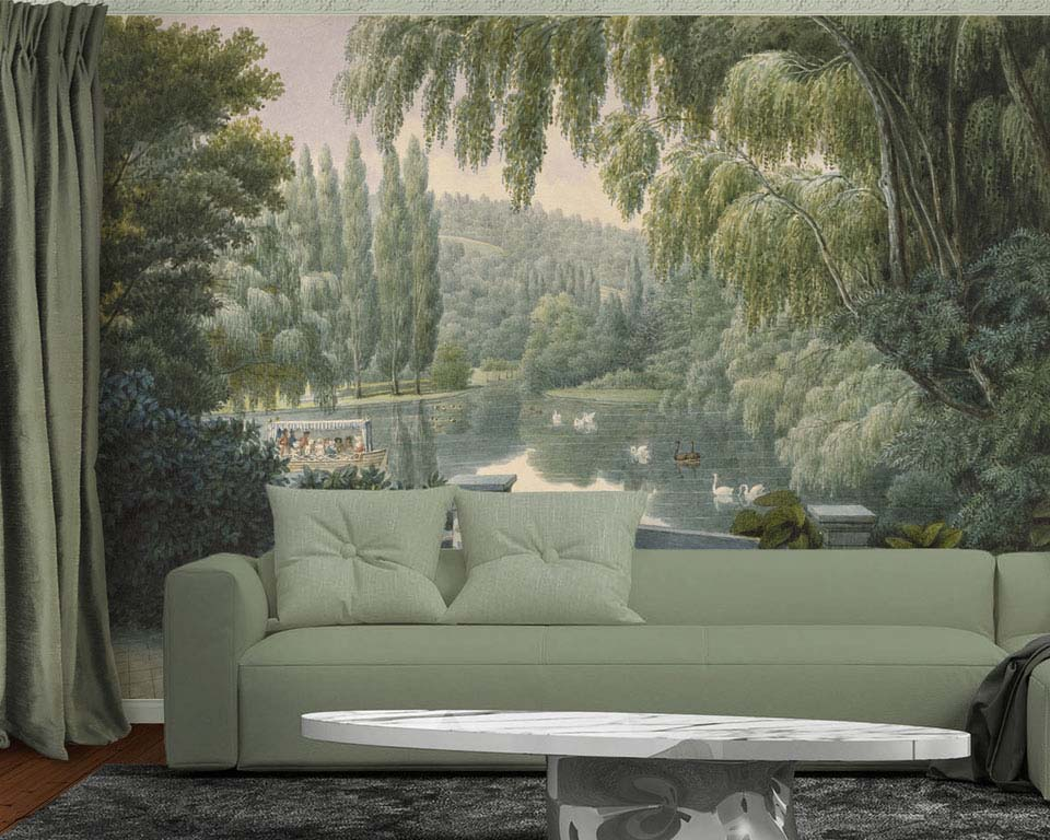 scenic wallpaper mural swan lake papiers de paris. Black Bedroom Furniture Sets. Home Design Ideas