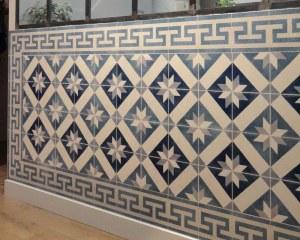 scenic wallpaper mural antique oriental ceramic tiles papiers de paris. Black Bedroom Furniture Sets. Home Design Ideas