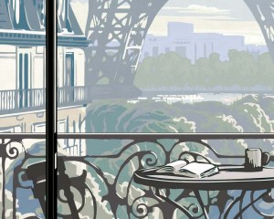 Tompe l 39 oeil wallpaper mural paris eiffel tower window for Eiffel tower wallpaper mural