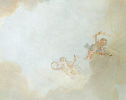 Scenic wallpaper ceiling sky with cherubs papiers de paris for Ceiling mural wallpaper