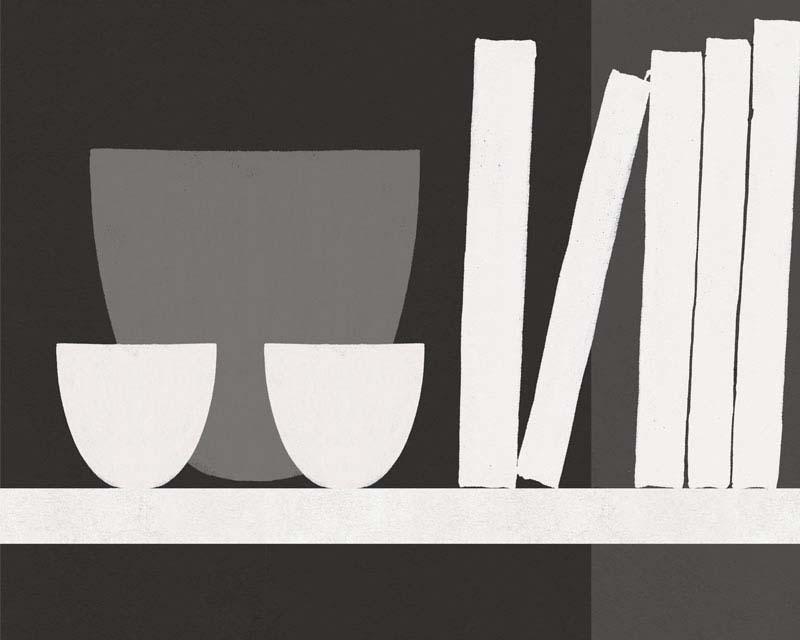 panneau d coratif fausse tag re avec vases et. Black Bedroom Furniture Sets. Home Design Ideas