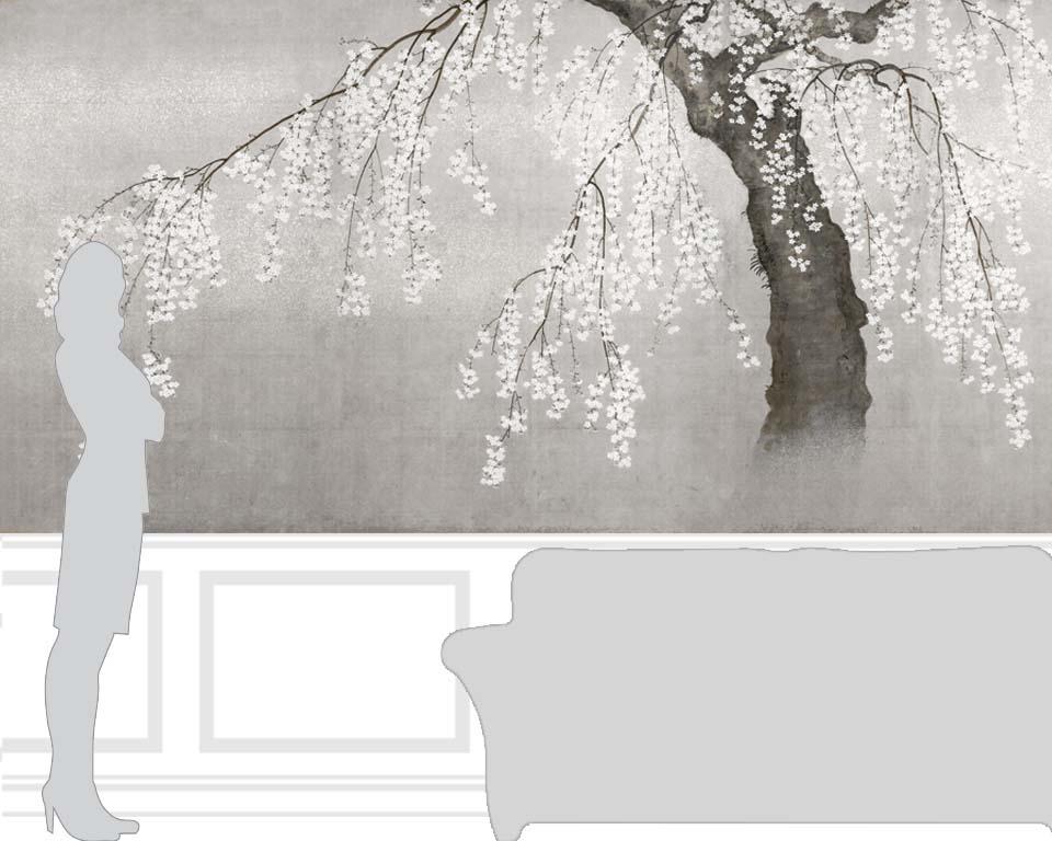 Papier peint japonais cerisier en fleurs papiers de paris - Papier peint fleur de cerisier japonais ...