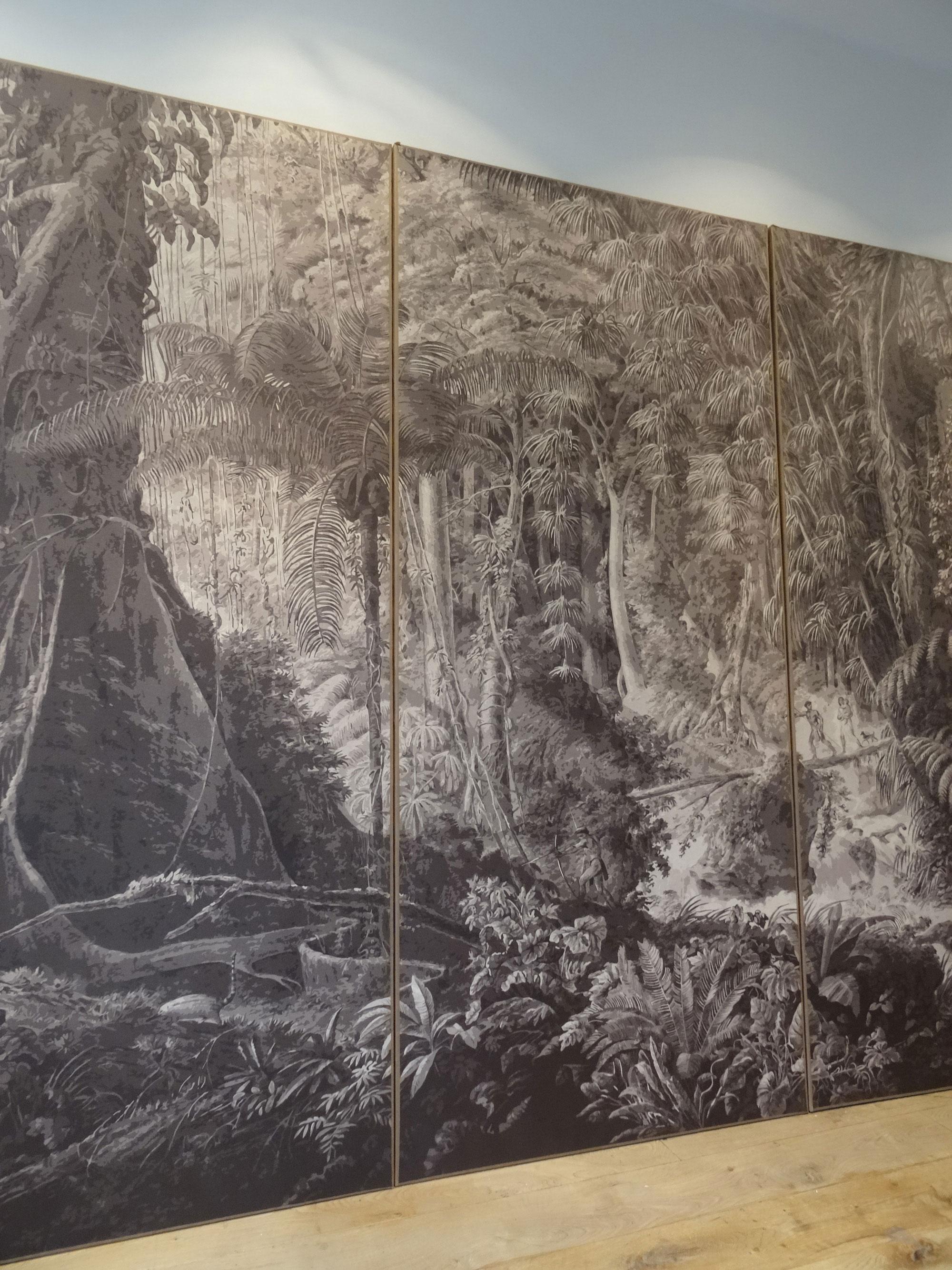 Panneaux de papiers peints maroufl s sur chassis papiers - Installation de papier peint ...