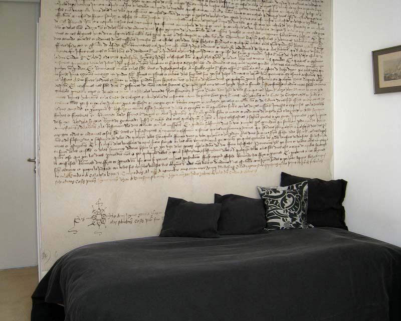papier peint panoramique manuscrit renaissance papiers de paris. Black Bedroom Furniture Sets. Home Design Ideas
