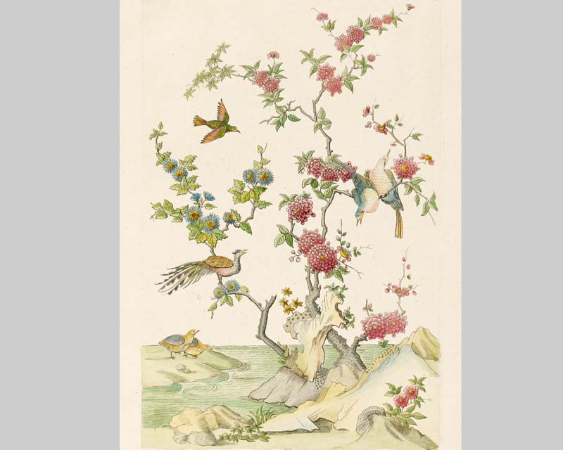 papier peint panoramique dessin d 39 oiseaux chinois papiers de paris. Black Bedroom Furniture Sets. Home Design Ideas