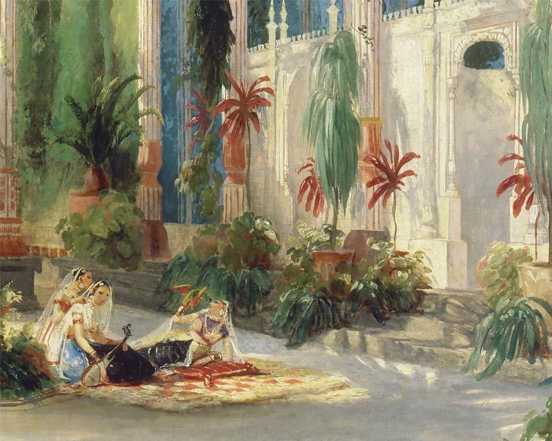 Papier peint panoramique la palmeraie 2 carl blechen papiers de paris - Papier peint exotique ...