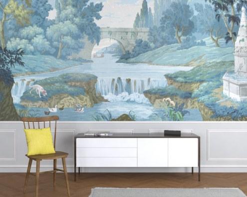 papier peint panoramique la planche chevaux et chasse courre papiers de paris. Black Bedroom Furniture Sets. Home Design Ideas