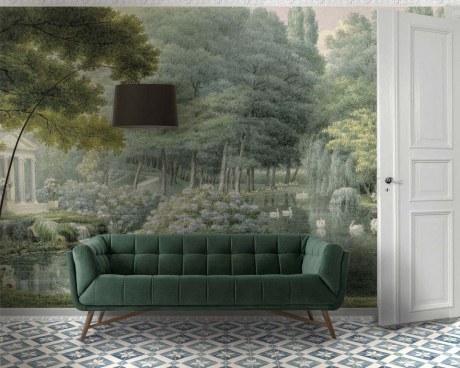 papier peint panoramique lac des cygnes papiers de paris. Black Bedroom Furniture Sets. Home Design Ideas