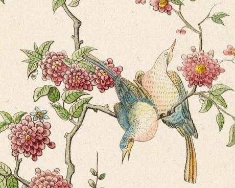 Papier peint panoramique - Dessin d\'oiseaux chinois - Papiers de Paris