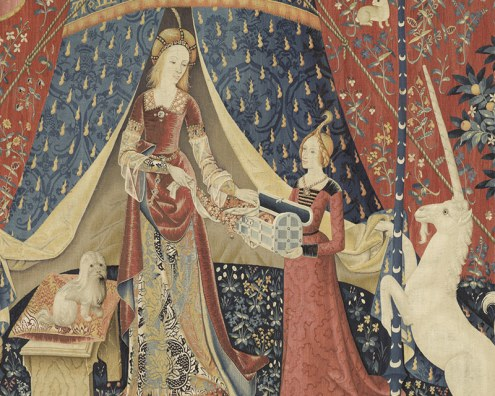 Papier peint panoramique la dame la licorne a mon seul d sir papiers de paris - Tapisserie dame a la licorne ...