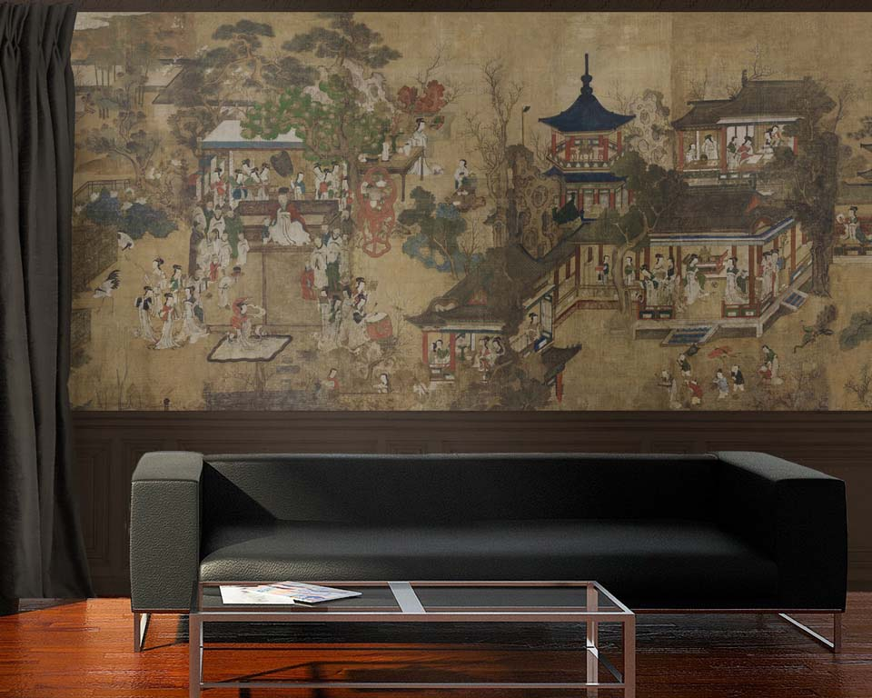 chinese panoramic wallpaper papiers de paris. Black Bedroom Furniture Sets. Home Design Ideas