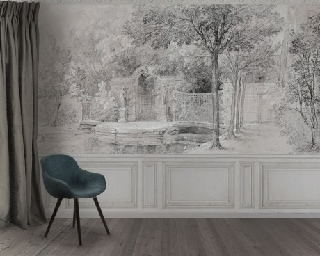 Garden In Grisaille Wallpaper Mural Papiers De Paris