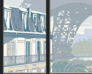 Window on Eiffel Tower #1 - Wallpaper mural