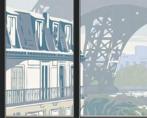 Window on Eiffel Tower #1 - Wallpaper mural