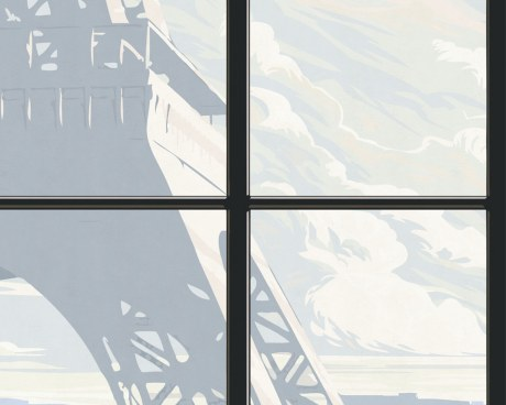 Window on Eiffel Tower #2 - Wallpaper mural