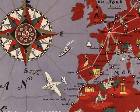 Planisphère Air France Lucien BOUCHER 1935 - Wallpaper Mural