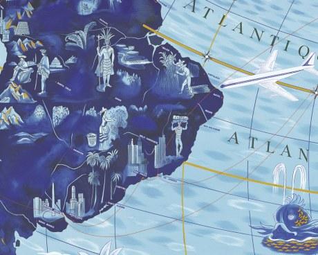 Planisphère Air France Lucien BOUCHER World Map - Wallpaper Mural
