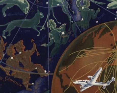 Planisphère Air France Lucien BOUCHER 1956 - Wallpaper Mural
