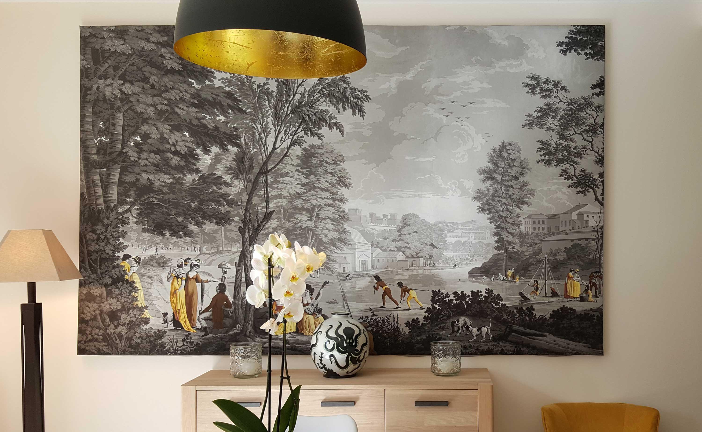 Papier Peint Panoramique Paysage paysages romains - manufacture dufour 19eme siècle - papiers