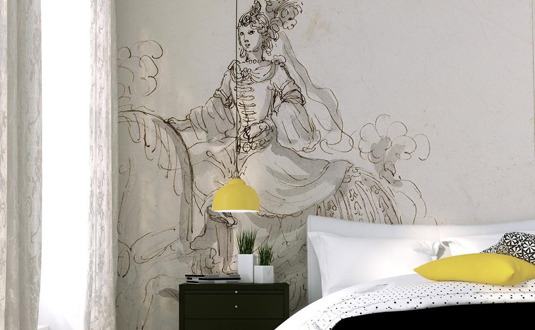 Papier peint tete de lit feminin