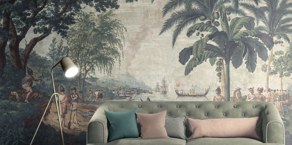 Cook travels, antique scenic wallpaper