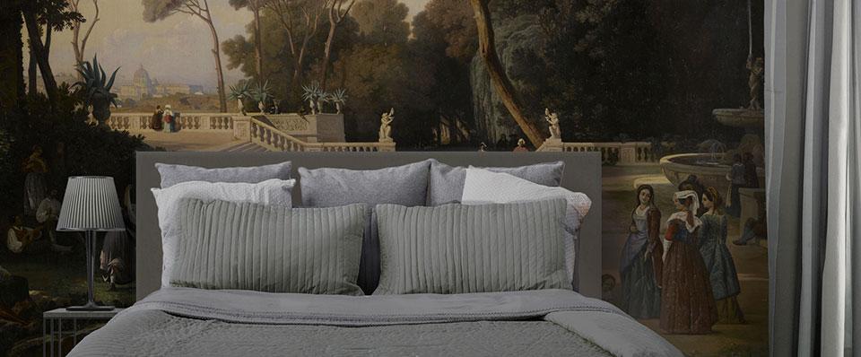 Tete de lit romantique vue de Rome