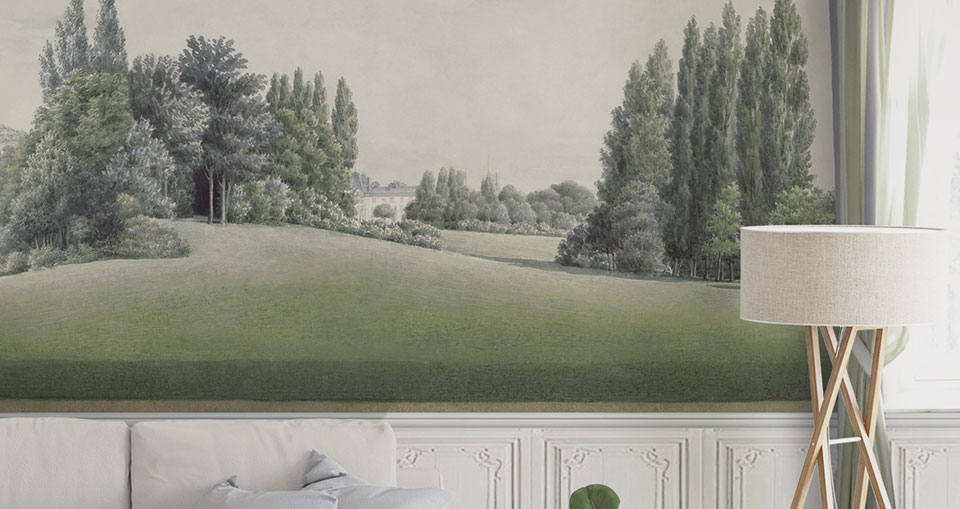 french garden large scenic wallpaper