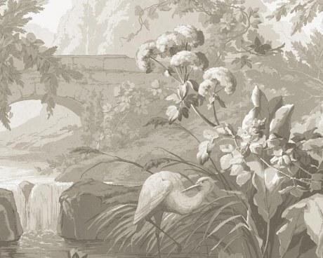 Paysage en grisaille - Papier peint
